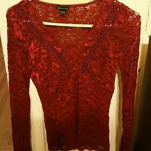 Rust red color lace small top